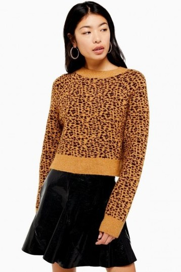 Topshop Micro Animal Cropped Jumper in Brown - flipped