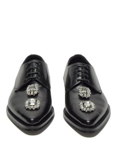 DOLCE & GABBANA Millennial crystal-embellished black leather derby shoes / sparkling crystals