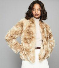 REISS MILLIE COAT FAUX FUR COAT CREAM / luxe jackets