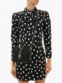 SAINT LAURENT Mini monogrammed black-suede shoulder bag