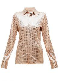 BOTTEGA VENETA Mirrored crepe shirt in beige / shiny shirts