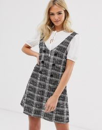 Miss Selfridge dress with tee in grey check / cute pinafore style dresses