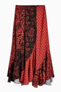 Topshop Mixed Print Spiral Midi Skirt in Rust