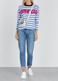 MONCLER Maglione white and blue striped wool-blend jumper