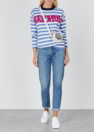 MONCLER Maglione white and blue striped wool-blend jumper - flipped