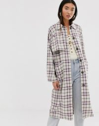 Monki check lightweight coat in beige and pink