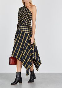MONSE Checked one-shoulder asymmetric flannel dress / bold check prints