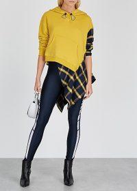 MONSE Yellow jersey and flannel sweatshirt / asymmetric sweat top