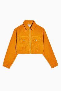 Topshop Mustard Zip Through Corduroy Jacket ~ yellow cropped cord jackets
