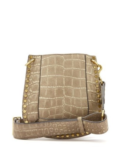 ISABEL MARANT Nasko crocodile-effect leather cross-body bag in beige | studded boho bags - flipped