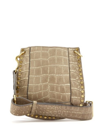 ISABEL MARANT Nasko crocodile-effect leather cross-body bag in beige | studded boho bags
