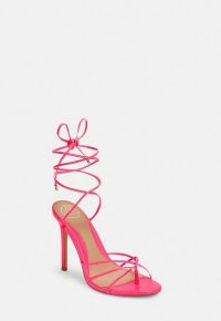 Missguided neon pink strappy toe post heeled sandals