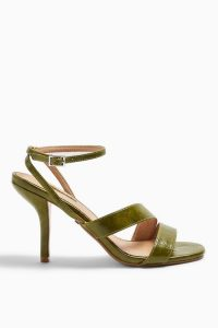 TOPSHOP NERO Mid Heel Sandals in Green / ankle strap heels