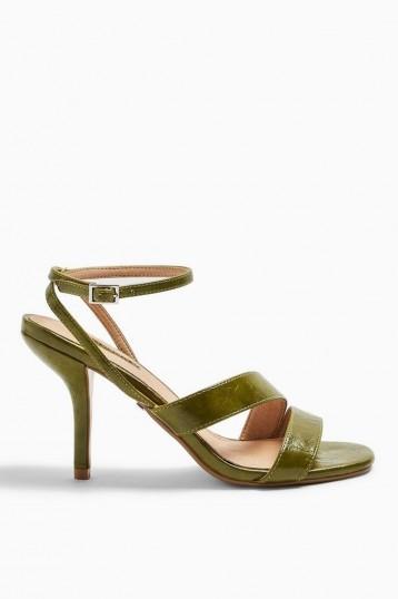TOPSHOP NERO Mid Heel Sandals in Green / ankle strap heels