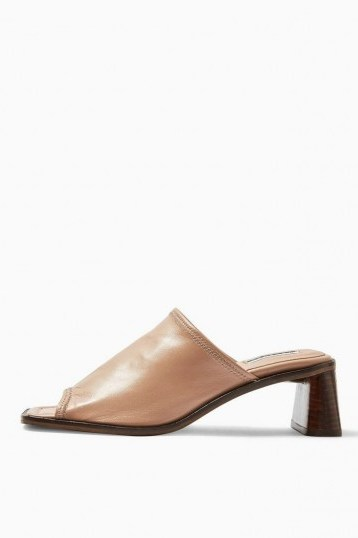 TOPSHOP NESS Soft Leather Mules in Pink - flipped