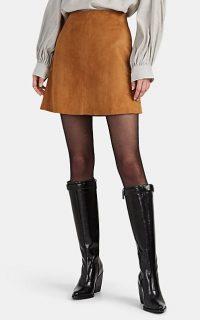NILI LOTAN Ali Suede Miniskirt in Whiskey ~ classic tan mini skirt