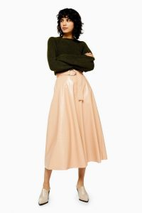 TOPSHOP Nude Full Circle Vinyl Midi Skirt / shiny belted skirts