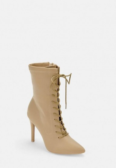 MISSGUIDED nude lace up pointed toe heeled boots