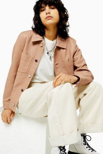 TOPSHOP Nude Leather Western Jacket ~ casual luxe jackets - flipped
