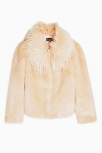 Topshop Nude Luxe Faux Fur Coat | fluffy jackets for fall/winter 2019
