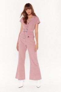 NASTY GAL Off the Record-uroy Wide-Leg Jumpsuit ~ corduroy kick-flare jumpsuits