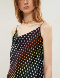 OLIVIA RUBIN Clover sleeveless polka-dot silk-satin camisole in rainbow / cowl neck cami