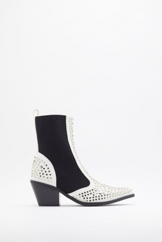 NASTY GAL One Point Perspective Studded Chelsea Boots ~ stud embellished western style boot