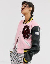 Opening Ceremony shrunken varsity jacket in pink salt / designer logo jackets