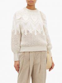 BRUNELLO CUCINELLI Opera open-knit cashmere & silk sweater | luxe crew neck jumper