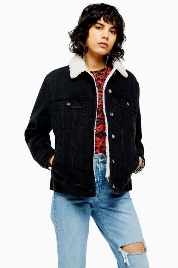 TOPSHOP Oversized Black Denim Borg Lined Jacket / casual jackets