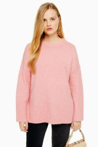 Topshop Pink Oversized Long Line Jumper | slouchy crew neck