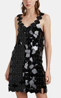 PACO RABANNE Paillette V-Neck Minidress in Black