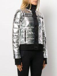 PACO RABANNE printed logo puffer jacket in silver / padded metallic jackets