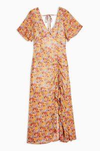 TOPSHOP Pastel Floral Angel Sleeve Dress / ruched detail dresses
