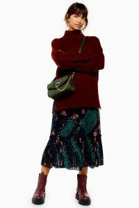 Topshop Patchwork Tiered Pleat Midi Skirt | frill hem skirts