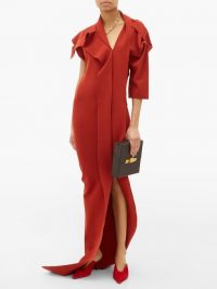 RICK OWENS Patti asymmetric cut-out knitted maxi dress in rusty-red ~ contemporary event gown