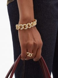 BOTTEGA VENETA Pavé-crystal chain bracelet ~ chunky embellished chains