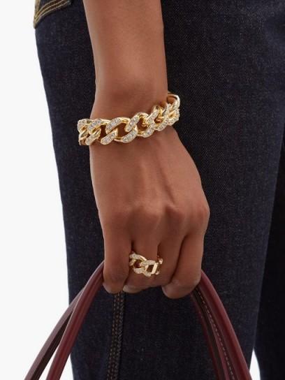 BOTTEGA VENETA Pavé-crystal chain bracelet ~ chunky embellished chains