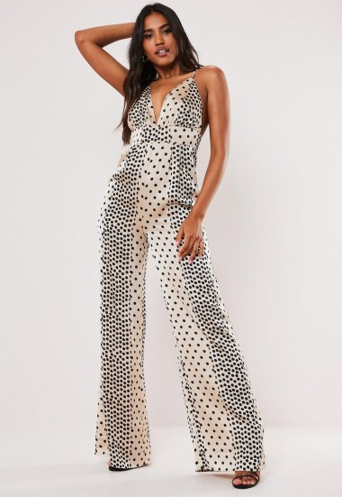 MISSGUIDED petite champagne polka dot satin wide leg jumpsuit ~ strappy plunge front jumpsuits