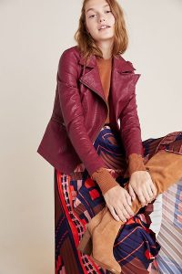 Anthropologie Petula Moto Jacket in Wine | colours for Fall