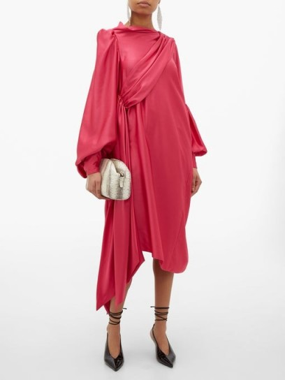 HILLIER BARTLEY Pillowcase satin-crepe dress in pink ~ draped event wear