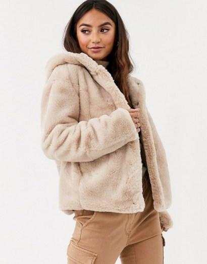 Pimkie faux fur hooded jacket in beige ~ neutral fluffy jackets - flipped