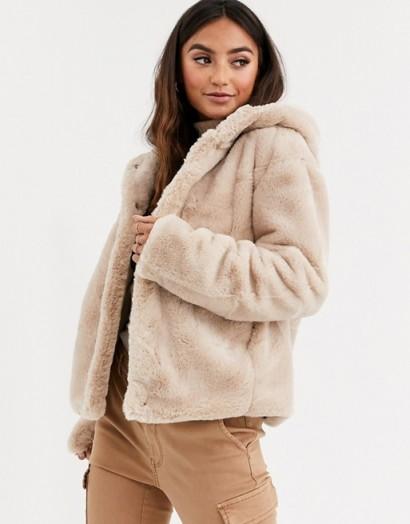 Pimkie faux fur hooded jacket in beige ~ neutral fluffy jackets