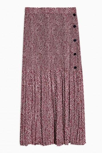 Topshop Pink Animal Print Pleat Midi Skirt