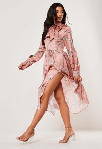MISSGUIDED pink pussybow chain print midi dress ~ printed neck tie dresses