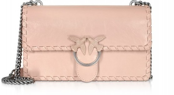 PINKO Love Twist Leather Shoulder Bag in Pale Pink - flipped