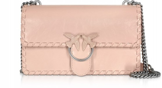 PINKO Love Twist Leather Shoulder Bag in Pale Pink
