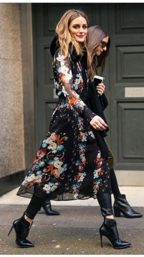 Olivia Palermo street style…sheer floral coat, leather skinnies and stiletto ankle boots.