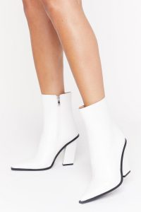 NASTY GAL Point Me in the Right Direction Faux Leather Boots in White