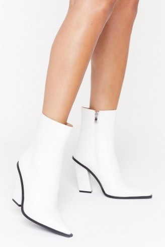 NASTY GAL Point Me in the Right Direction Faux Leather Boots in White - flipped